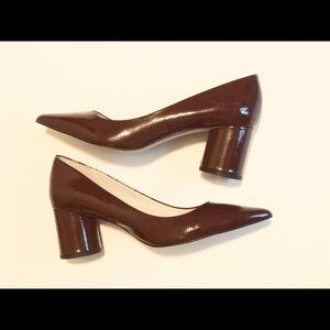 Zara Burgandy Patent Leather Block Heels EUC